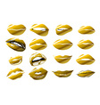 lips - gold icon of kiss print with gold shimmer vector image