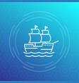 sailing vessel ship line icon vector image