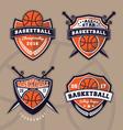 Set of basketball logo design for apparel vector image