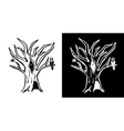 Hand drawn doodle Halloween tree Black and white vector image
