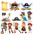 different pirate characters and pirate symbols vector image vector image