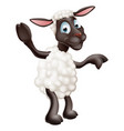 sheep waving and pointing vector image vector image