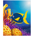 A big smiling fish near the coral reefs vector image vector image