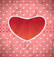 Crumpled retro heart frame vector image