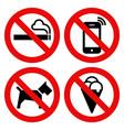 No smoking No cell phone No dogs and No eating vector image vector image