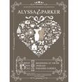 Wedding invitation with heart compositionWedding vector image