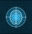 brain icon over blue circuit chip background vector image