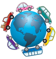 cars around earth globe vector image