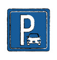 drawing parking sign road street vehicle vector image