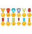 golden medals collection with ribbons set vector image