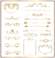 set calligraphic gold vector image