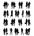 Silhouettes of happy family vector image