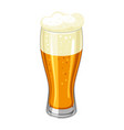 glass with light beer and froth for vector image