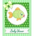 cute baby fish card draw vector image