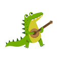 cute cartoon crocodile character playing guitar vector image