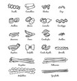 linear pictures of classical italian food vector image