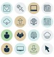 set of 16 internet icons includes computer vector image