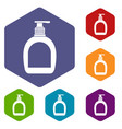bottle with liquid soap icons set hexagon vector image