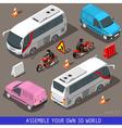 Isometric Flat 3d Vehicle Tourism Set vector image vector image