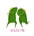 Two Frogs Prince and Princess in Love Kissing vector image