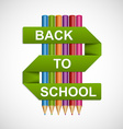 Colorful pencils with text back to school on paper vector image