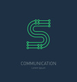 Connection System - logo design template letter S vector image
