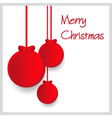 three red paper christmas decoration baubles vector image