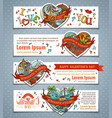set of horizontal valentines banners vector image