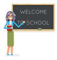 teacher book female study pupil student class vector image