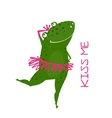 Funny Cute Frog with Crown Dancing vector image