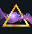abstract purple wave in gold triangle vector image