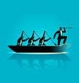 businessmen rowing the boat vector image