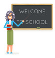 teacher book female study pupil student class vector image
