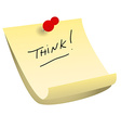 Think sticky note vector image