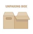 unpacking box icon flat style vector image
