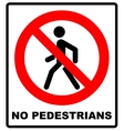 Prohibition No Pedestrain Sign vector image