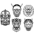 Japanese Demonic Noh Theatrical Masks vector image
