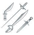 Medieval pirate sword dagger dirk engraving style vector image