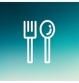 Spoon and fork thin line icon vector image