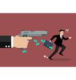 Businessman running away from a hand holding gun vector image