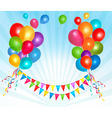 holiday background with colorful ballons and flags vector image vector image
