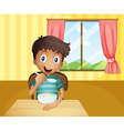 A boy eating cereals inside the house vector image