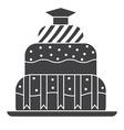 Graduation Cake Outline Icon vector image