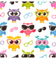 seamless pattern with colorful funny owls with vector image
