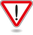 Sign exclamation mark in red triangle vector image