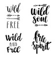 set of boho style lettering quotes and hand drawn vector image