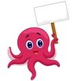 Octopus cartoon holding blank sign vector image