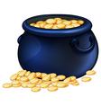 A pot of gold coins vector image