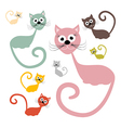 Cats Set Isolated on White Background vector image vector image