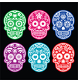 mexican sugar skull icons set colour black bg vector image